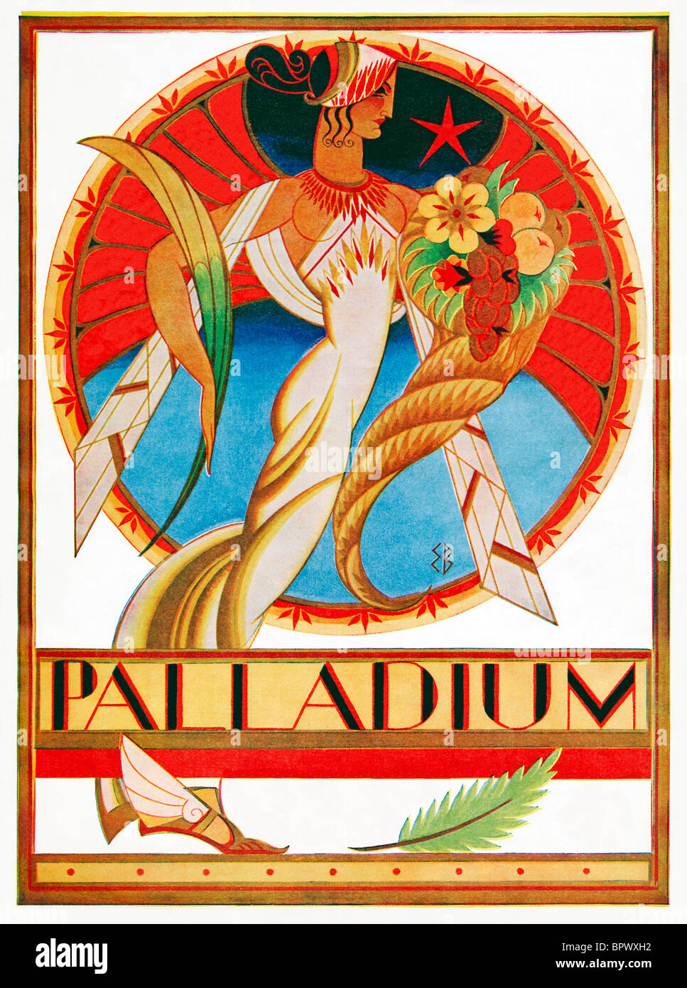 Palladium, 1930 Art Deco illustration for the cover of a programme for the famous theatre in the West End of London - Stock Image