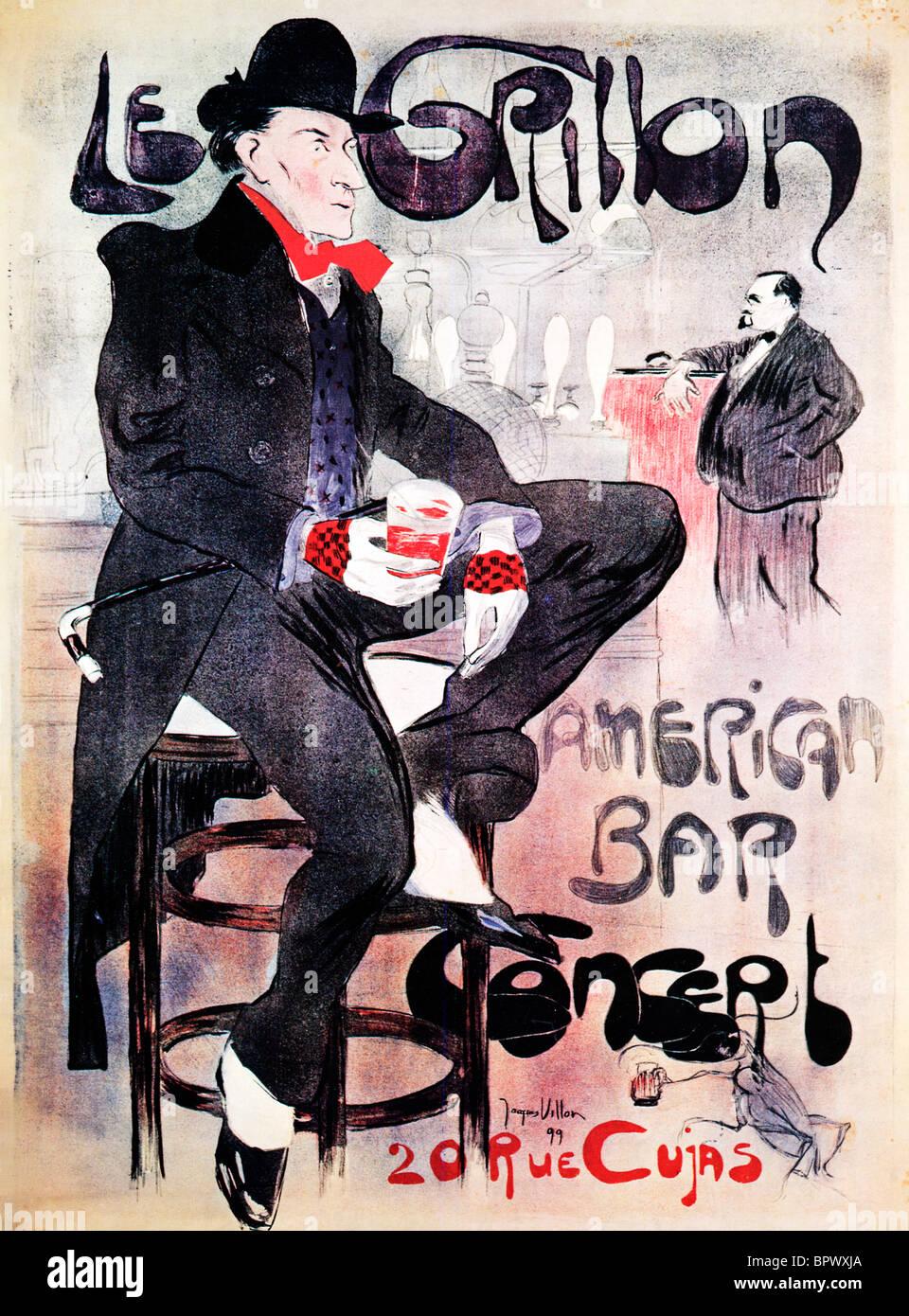 Le Grillon, 1899 Art Nouveau poster by Montmartre artist Jacques Villon for a fashionable Parisian American Bar - Stock Image