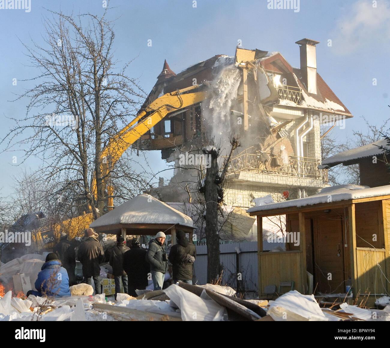Houses in Rechnik settlement demolished - Stock Image