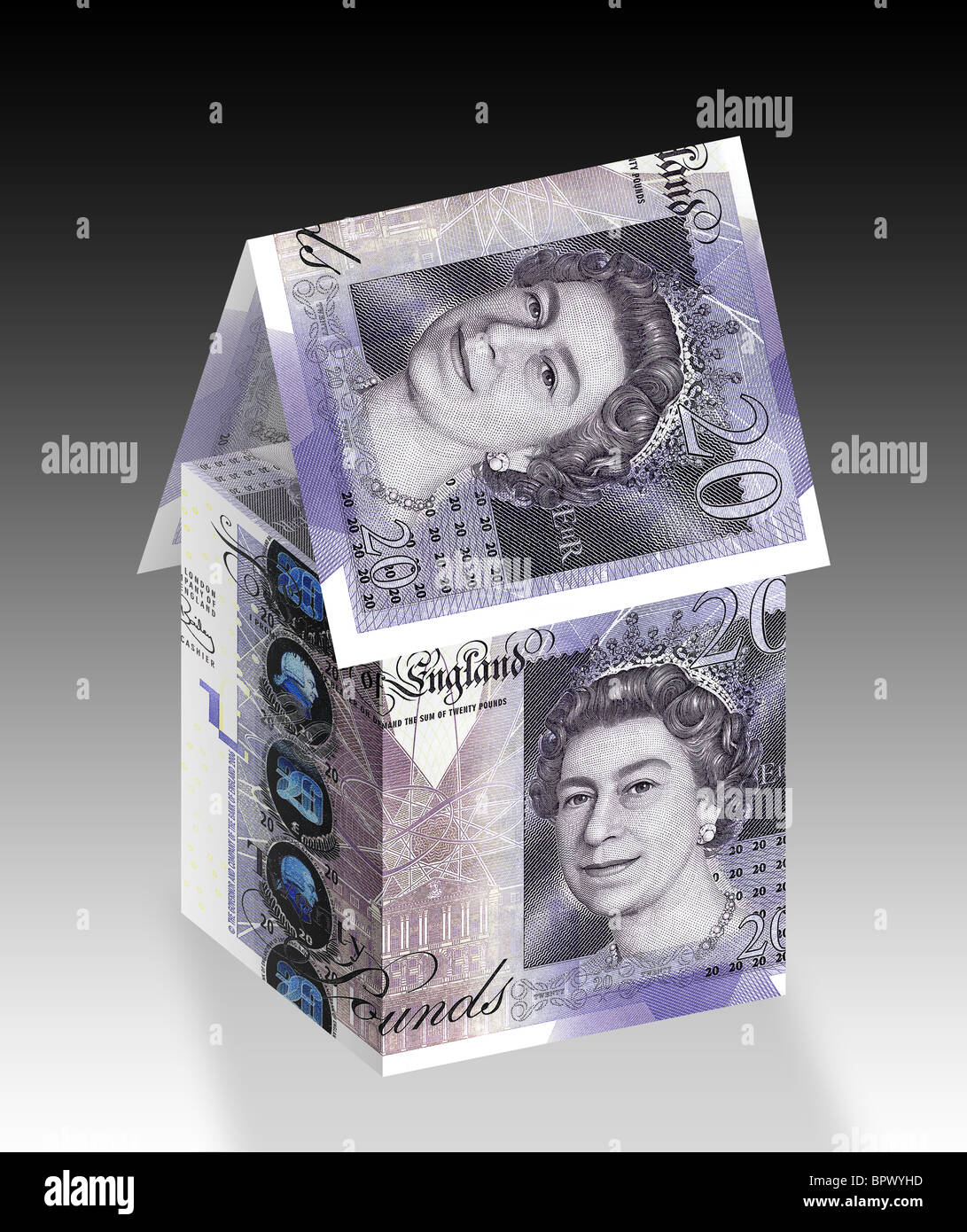 House made up with £20 twenty pound notes. Stock Photo