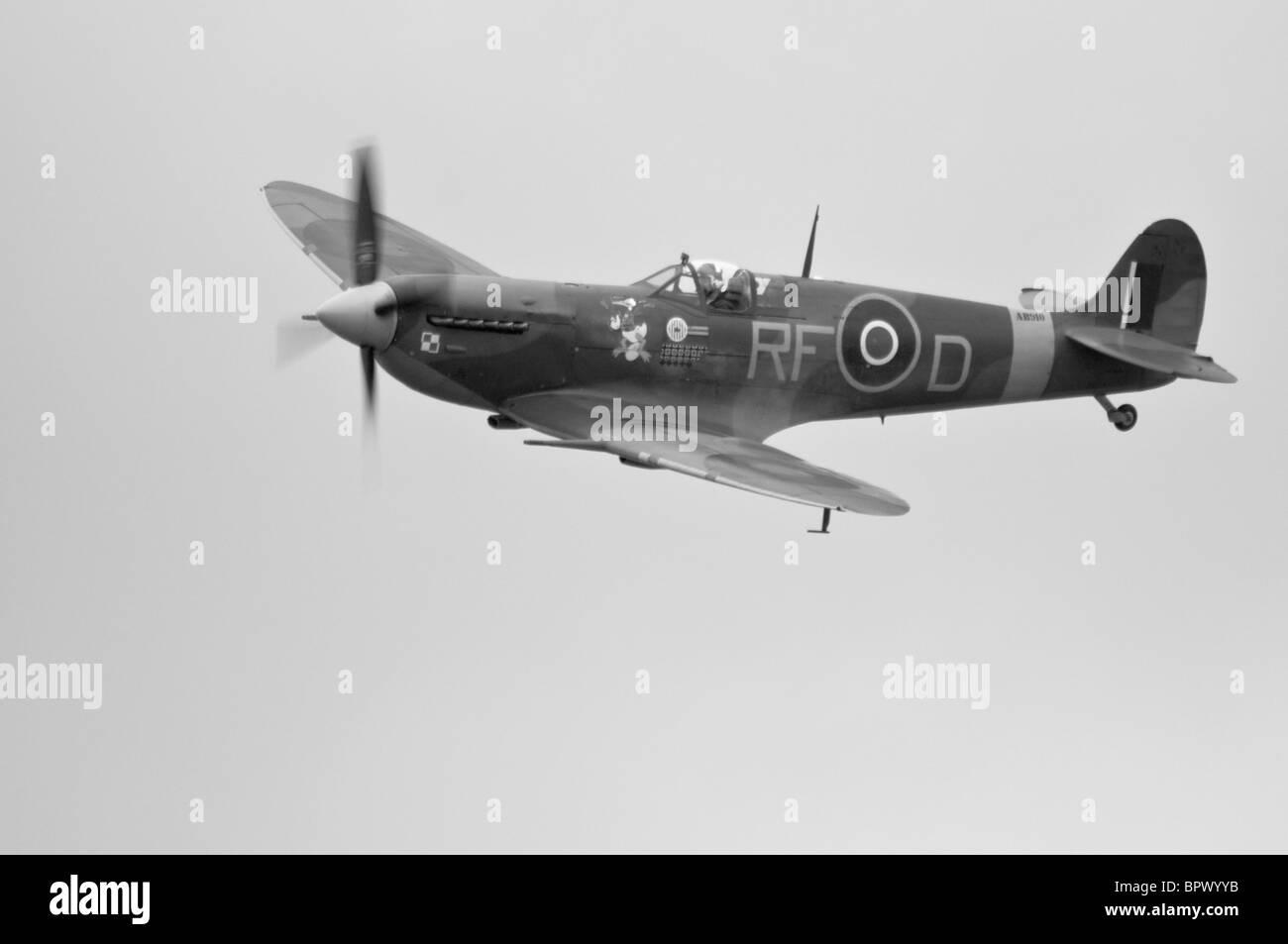 Spitfire displaying at Duxford, UK - Stock Image