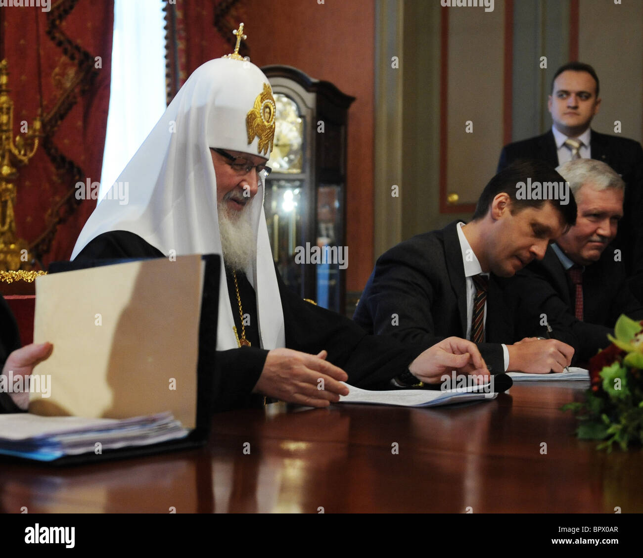 Patriarch Kirill and Mahmoud Abbas meet in Moscow - Stock Image