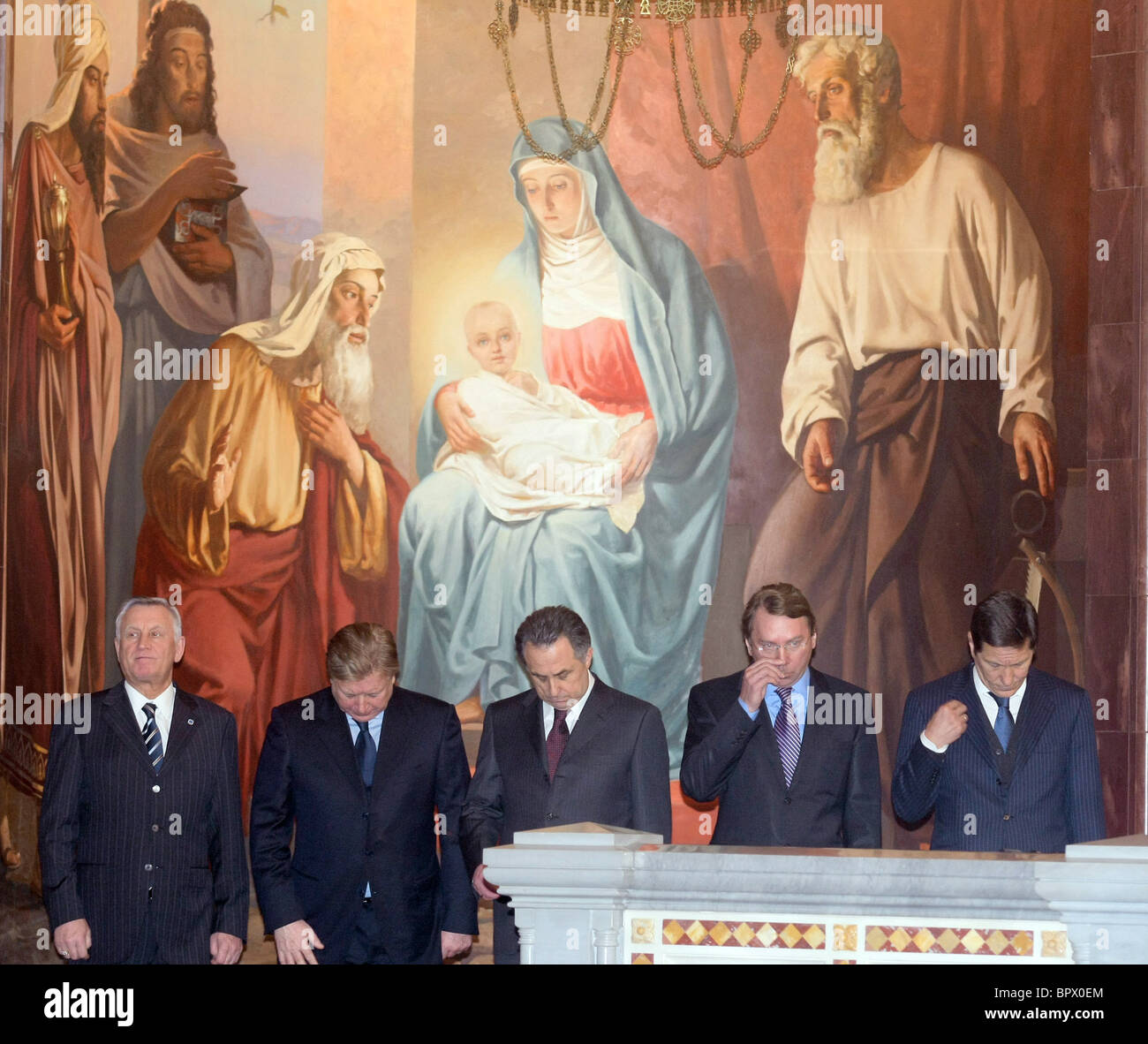 Patriarch Kirill blesses Russian Olympic Team - Stock Image