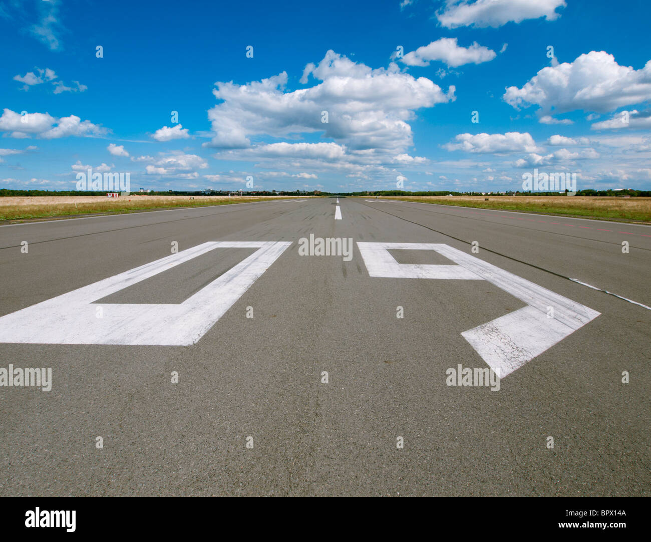 Disused  airport runway at new city public Tempelhofer Park on site of famous former Tempelhof Airport in Berlin - Stock Image