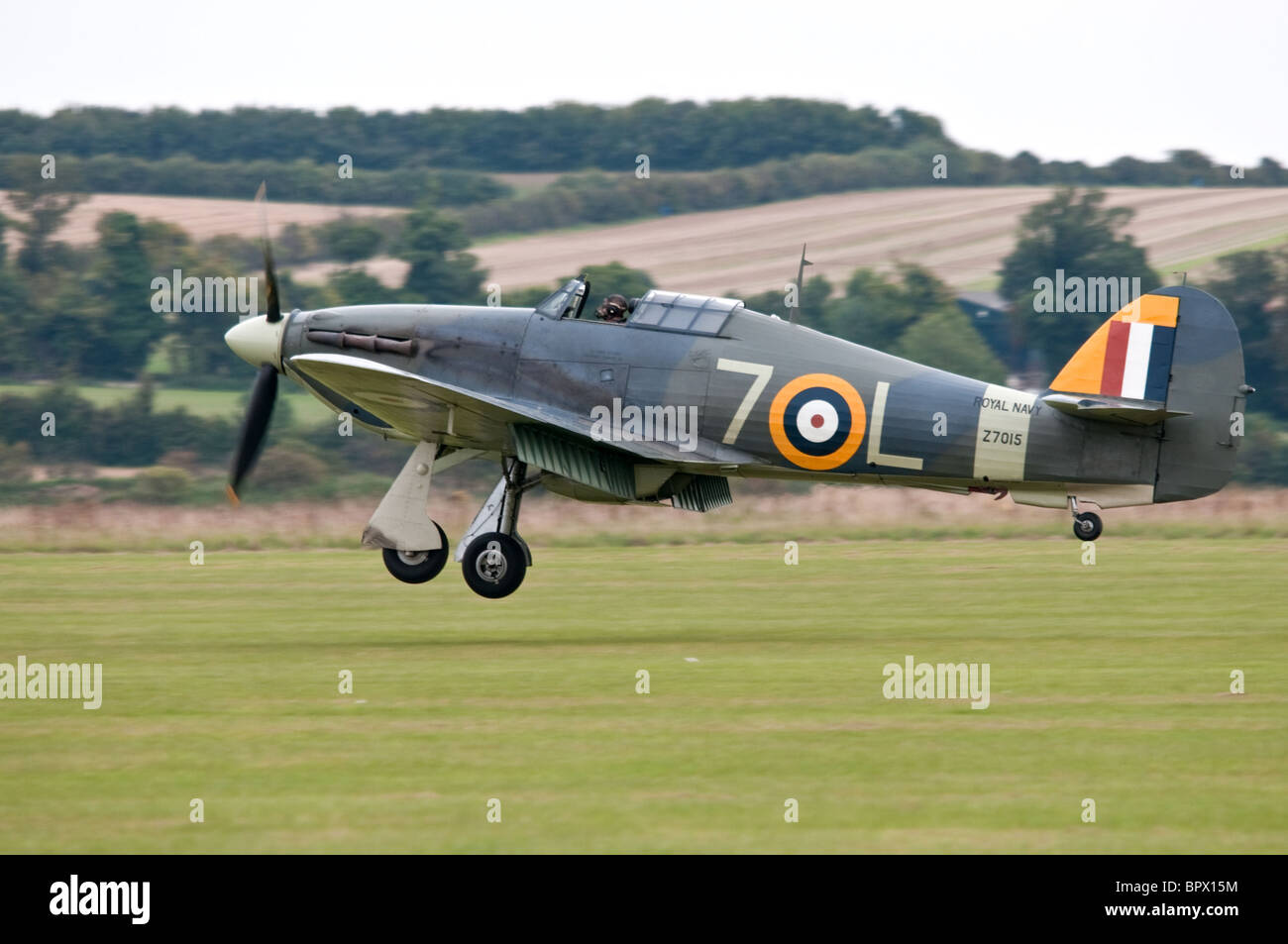 Sea Hurricane coming into land at Duxford - Stock Image