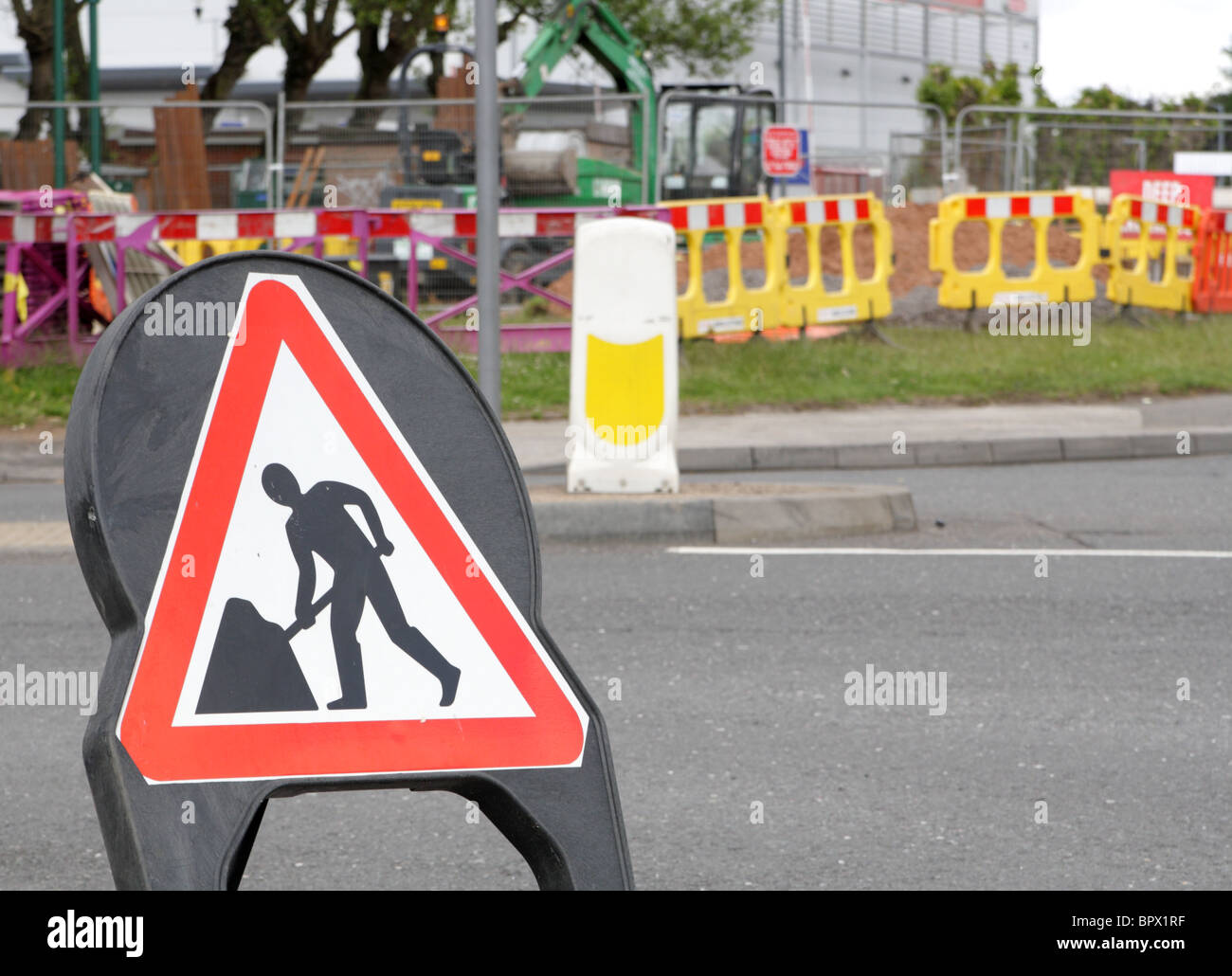 Road  works sign,  Kitts Green,  Birmingham UK, 2010 - Stock Image
