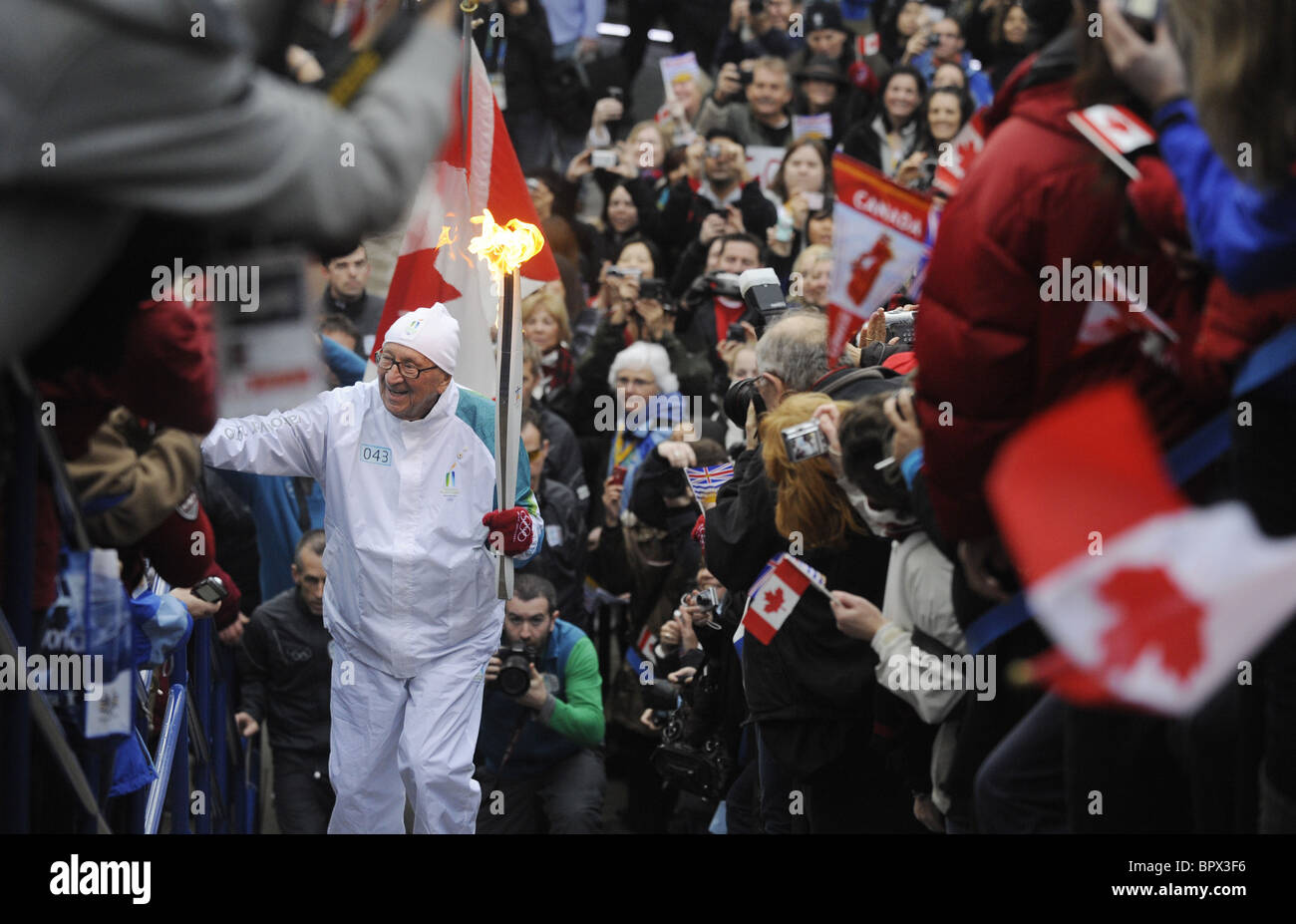 Olympic Torch Relay in Vancouver - Stock Image