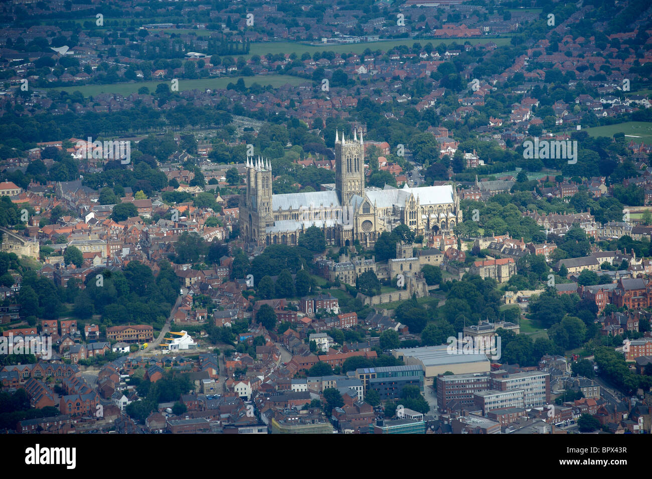 Lincoln Cathedral, from the air, Lincoln, Eastern England - Stock Image