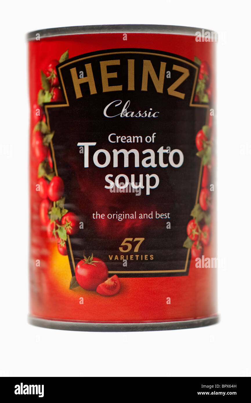 Close-up of a tin of Heinz tomato soup. 57 Varieties. - Stock Image