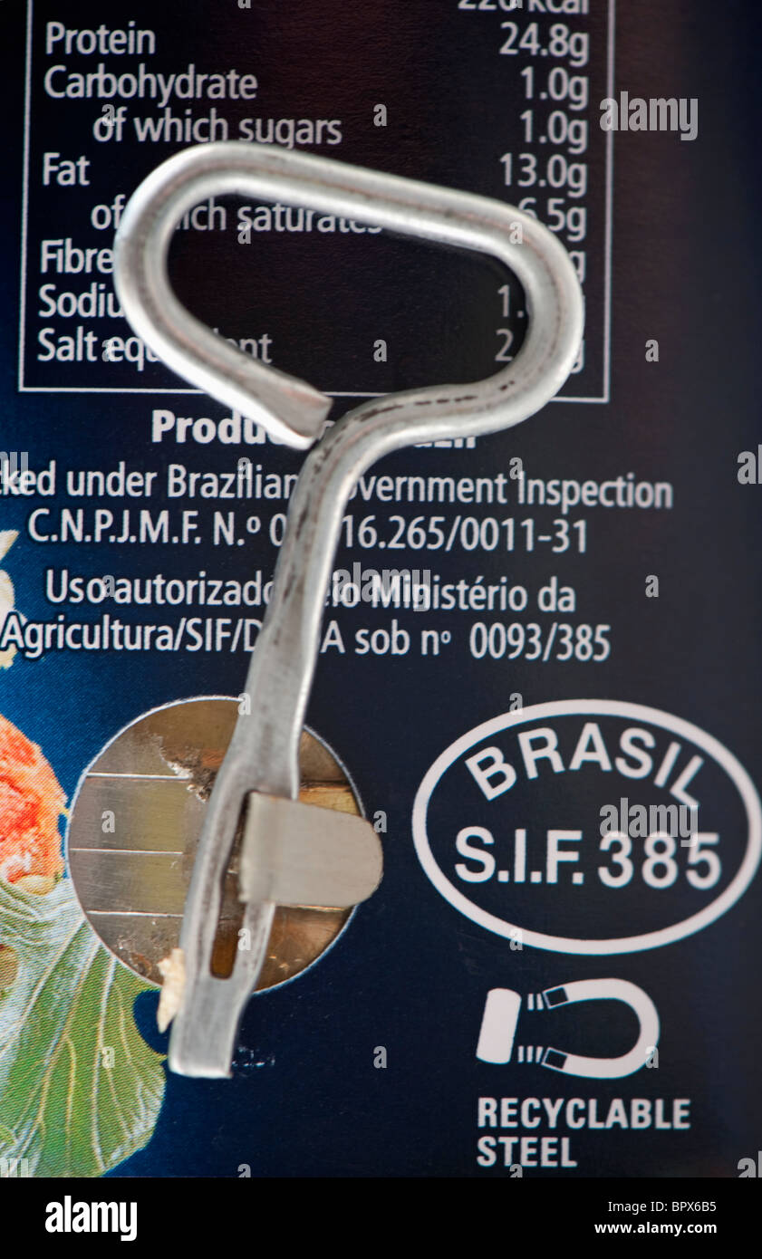 Fray Bentos tin of corned beef. Produce of Brazil with a key to open the tin. - Stock Image
