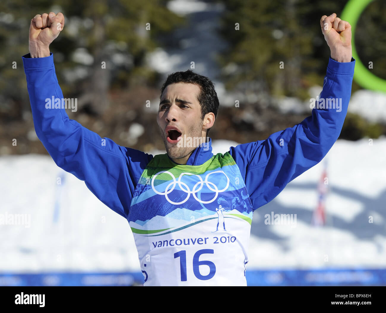 Biathlon: Russia's Evgeny Ustyugov grabs mass start gold - Stock Image