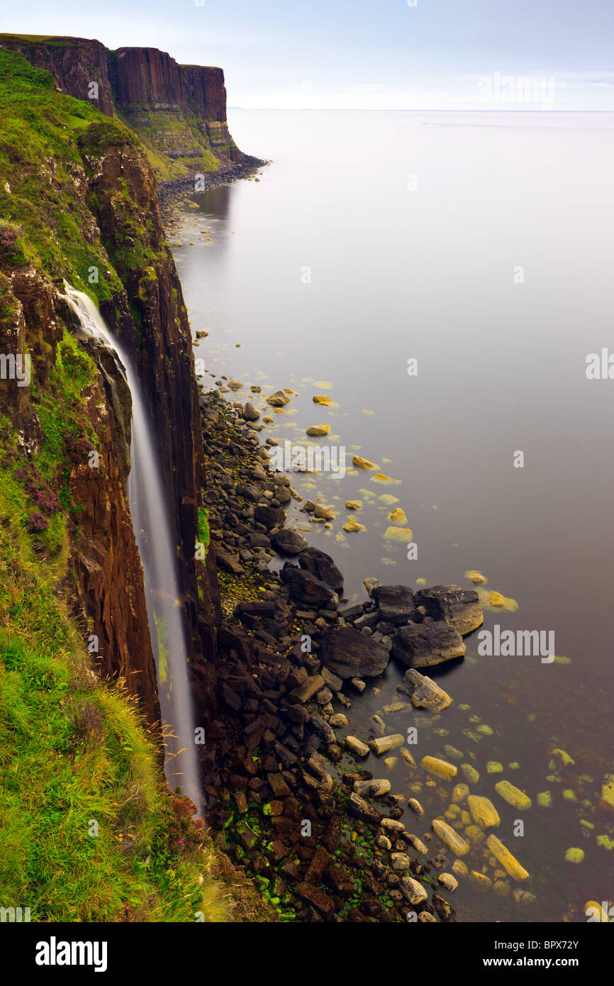 Mealt Waterfall on the Trotternish Peninsula on the Isle of Skye - Stock Image