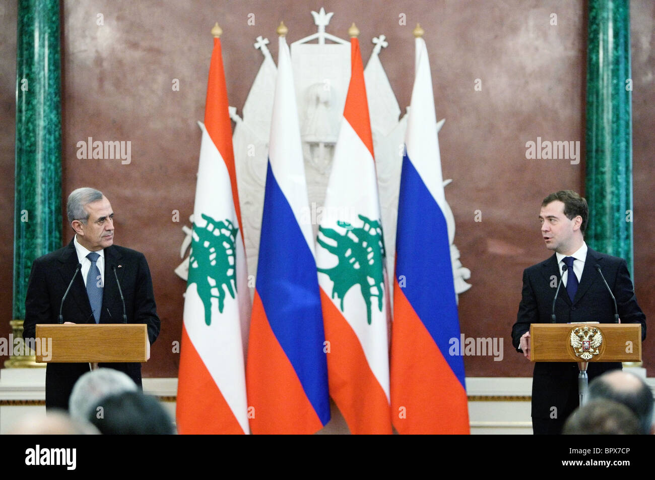 Leaders of Russia and Lebanon meet for talks - Stock Image