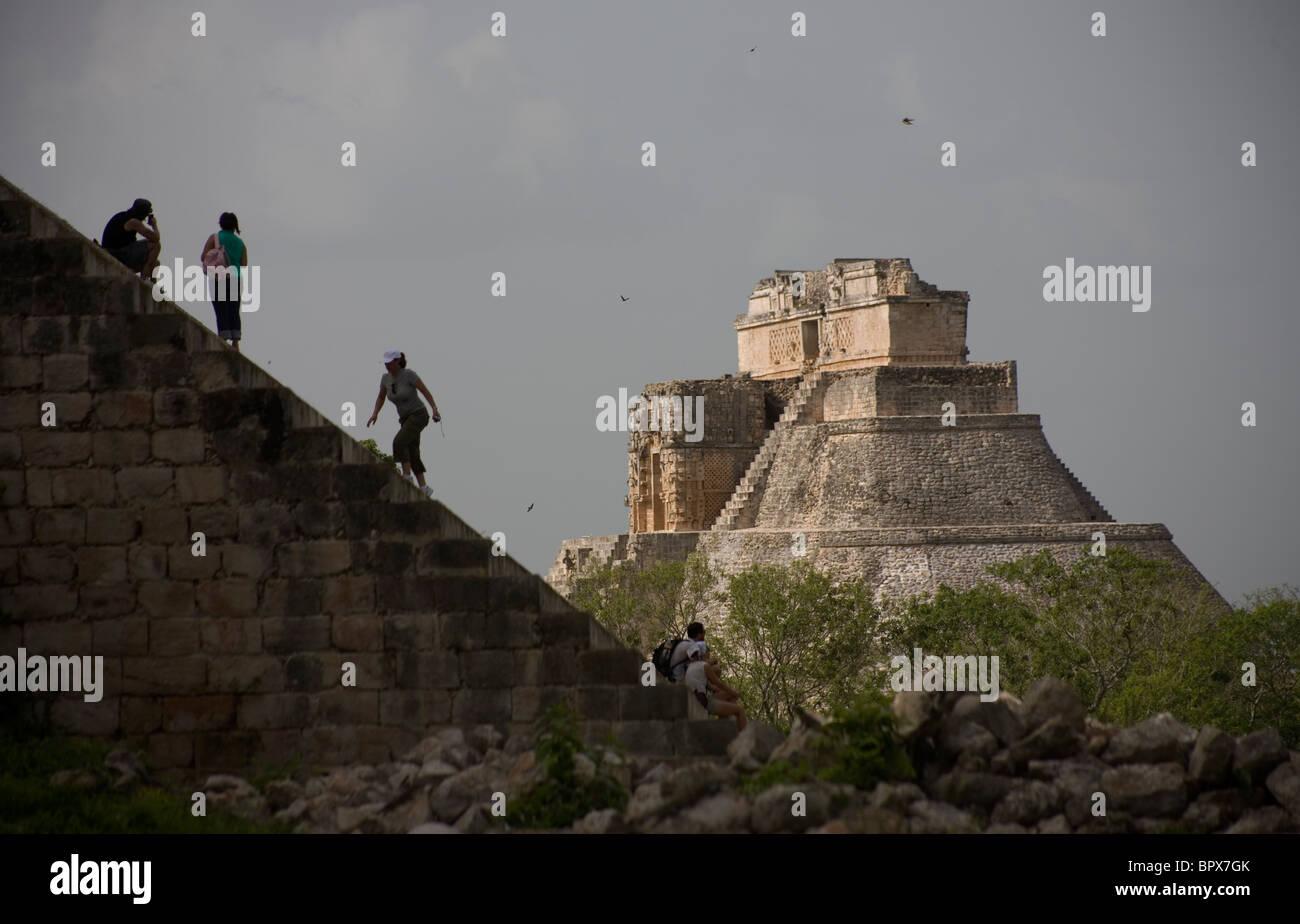The Magician Pyramid, or the Piramide del Adivino, in Spanish, seen among the Mayan ruins of Uxmal in Yucatan peninsula, - Stock Image