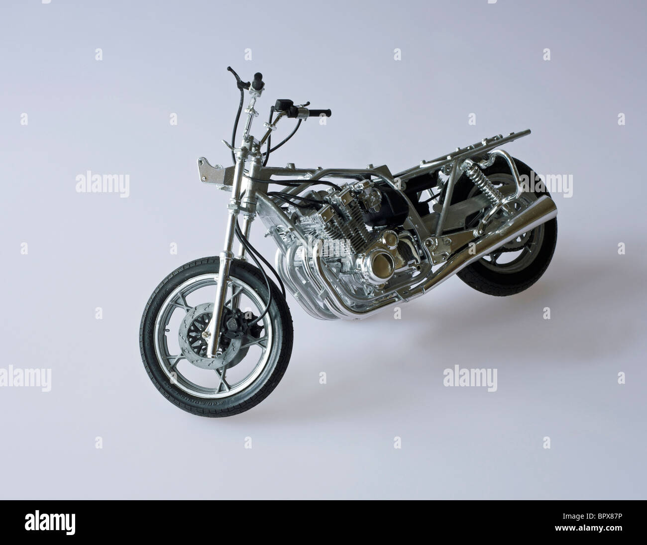 hand built  brush painted plastic construction kit by Tamiya of Suzuki 750cc Japanese police motorcycle without - Stock Image