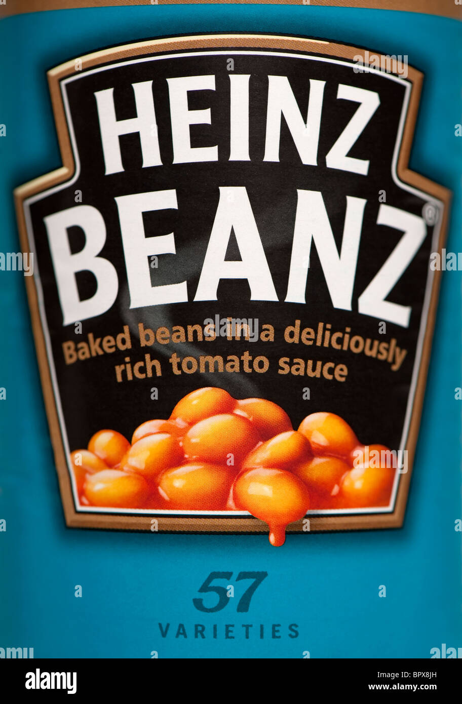 Close-up of a tin of Heinz Baked Beans. 57 Varieties. - Stock Image