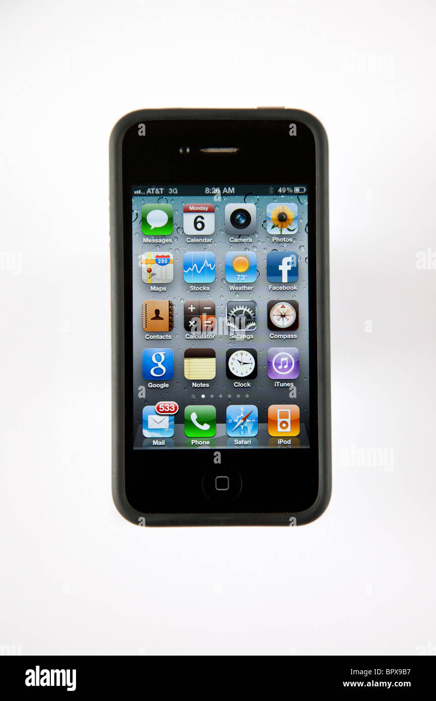 Iphone G4 4 with bumper case, show menu window - Stock Image