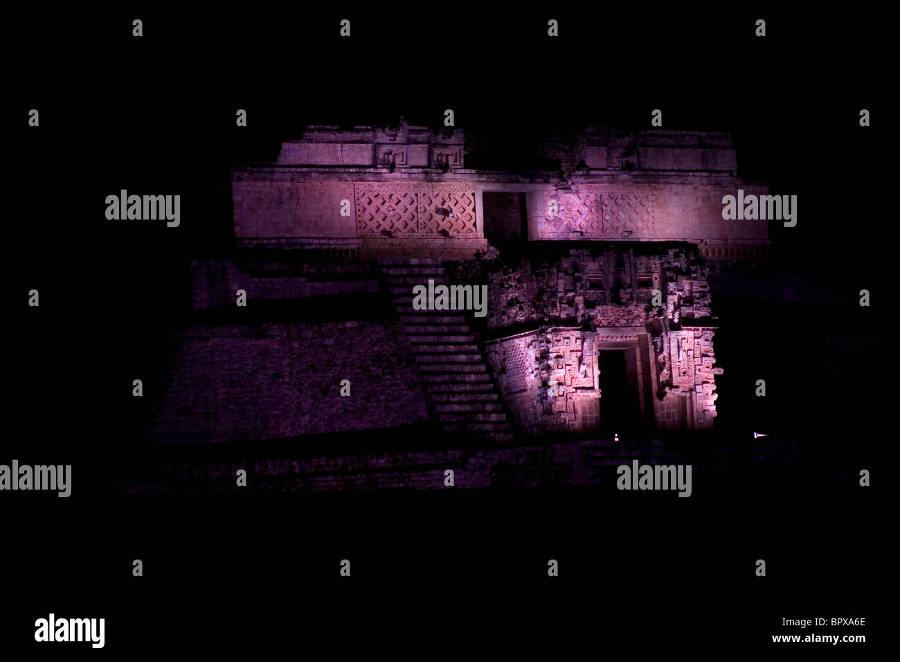 The Magician Pyramid of the Mayan ruins of Uxmal during a theatric laser light show in Yucatan peninsula, Mexico, - Stock Image
