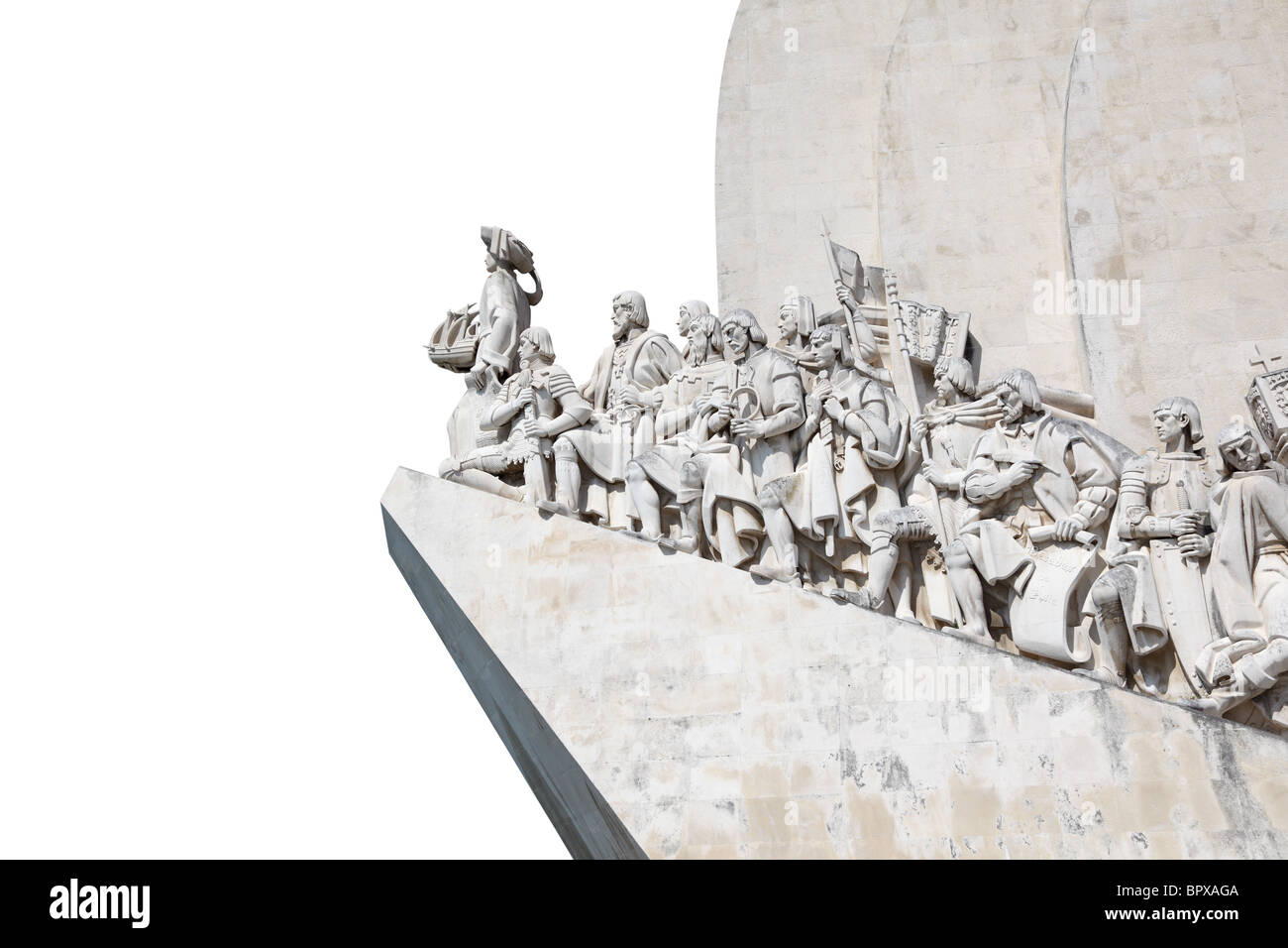 Monument to the Discoveries in Lisbon, Portugal. Isolated over white background - Stock Image