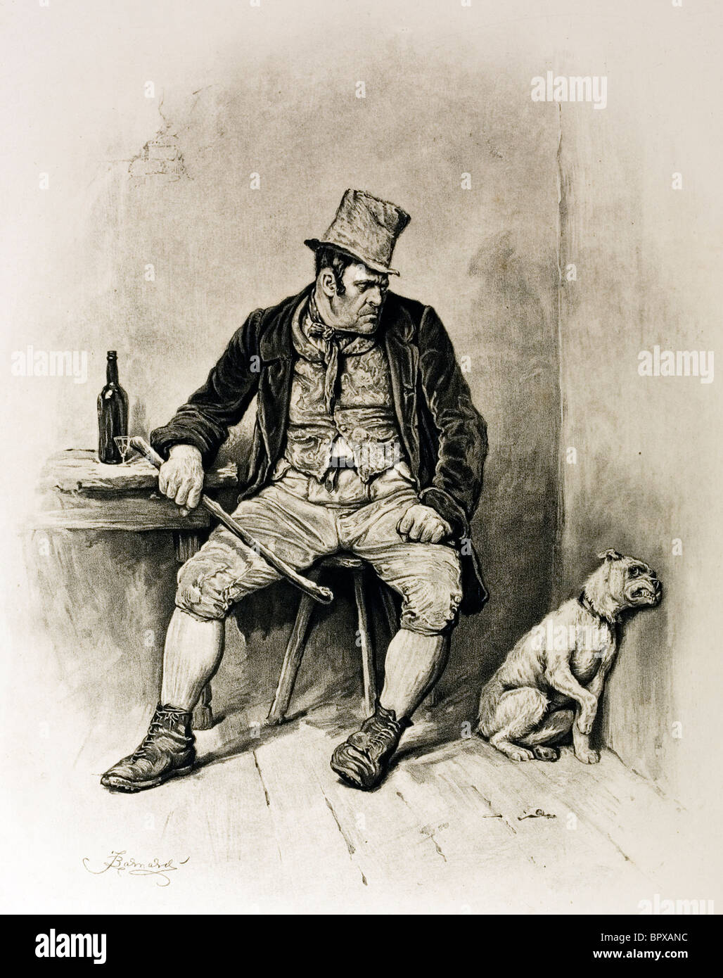 Character sketch of Bill Sykes from Oliver Twist by Charles Dickens. Artist Frederick Barnard.. - Stock Image