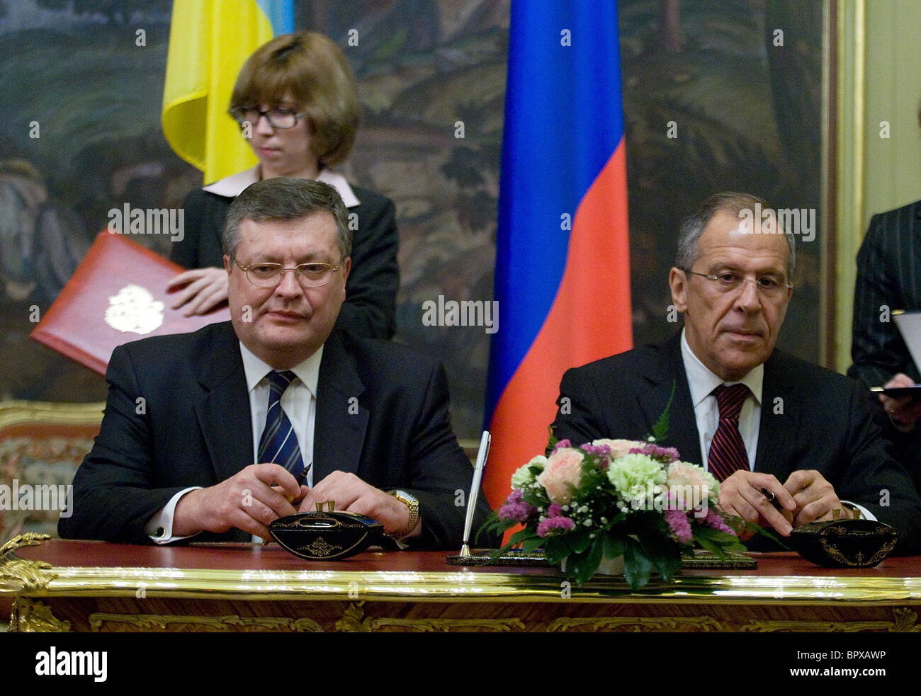 Russian and Ukrainian Foreign Ministers meet for talks - Stock Image
