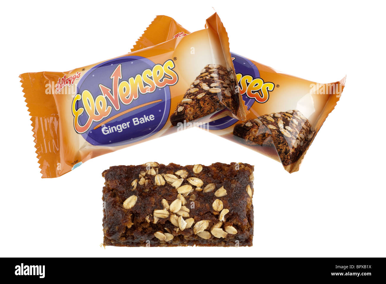 two packets of Kelloggs elevenses ginger bake one unwrapped - Stock Image