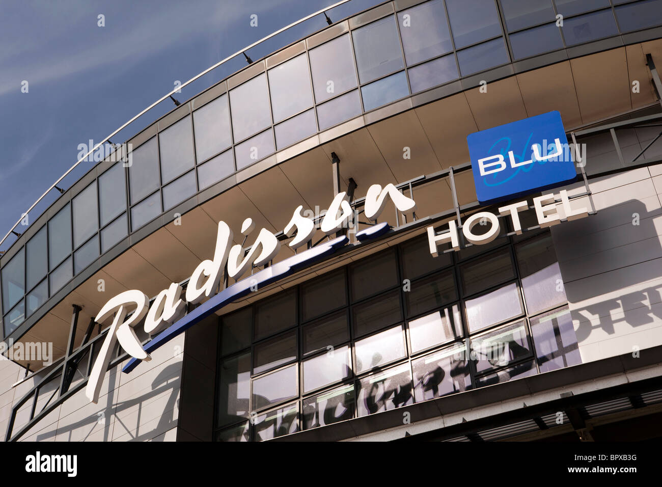 UK, England, Manchester Airport, Radisson Blu Hotel sign - Stock Image