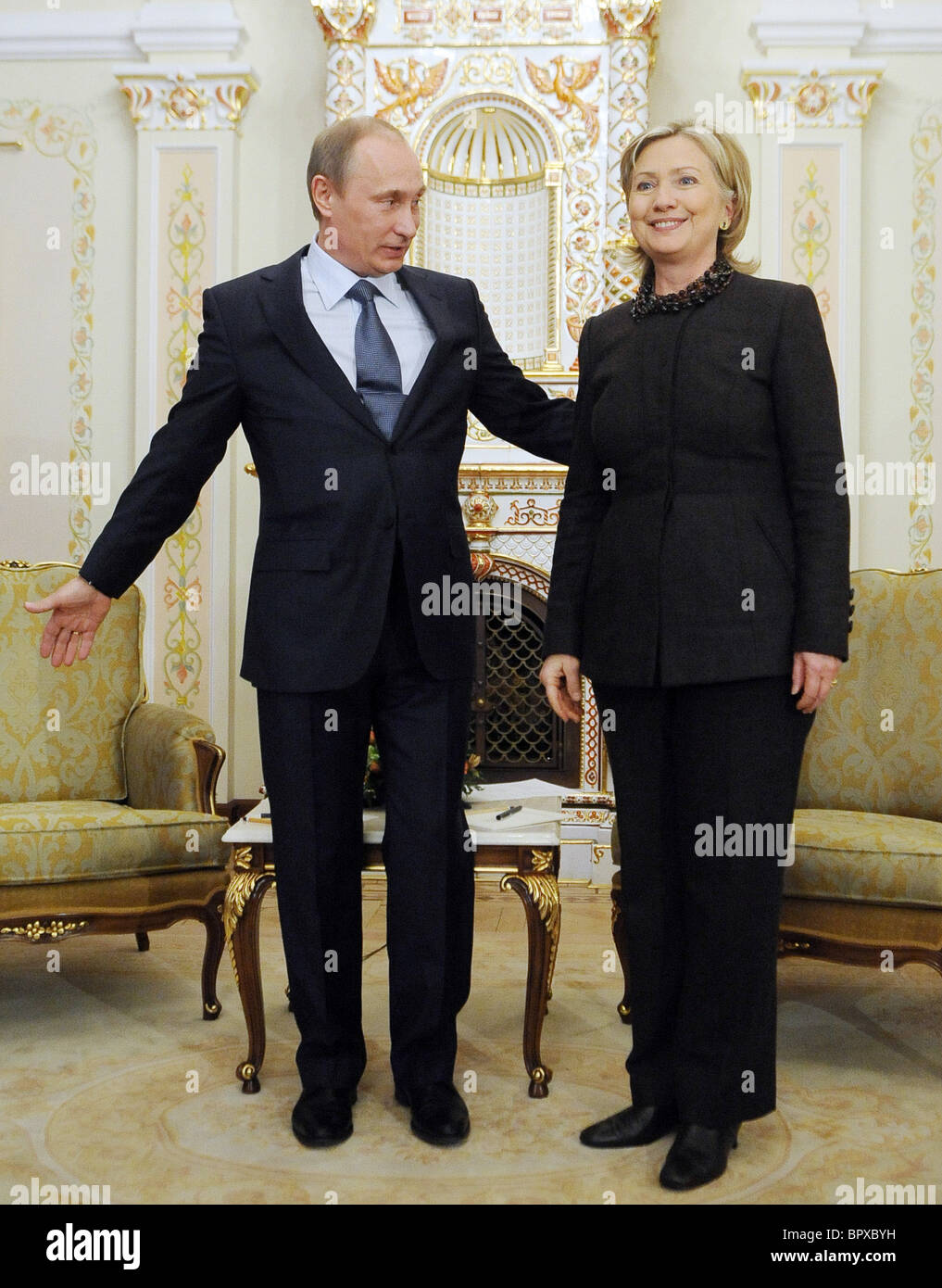 Russian PM, U.S. Secretary of State meet for talks Stock Photo