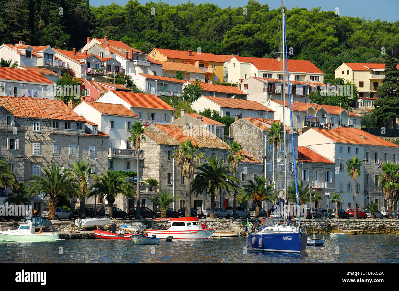 KORCULA, CROATIA. The seafront at Korcula Town on Korcula Island. - Stock Image