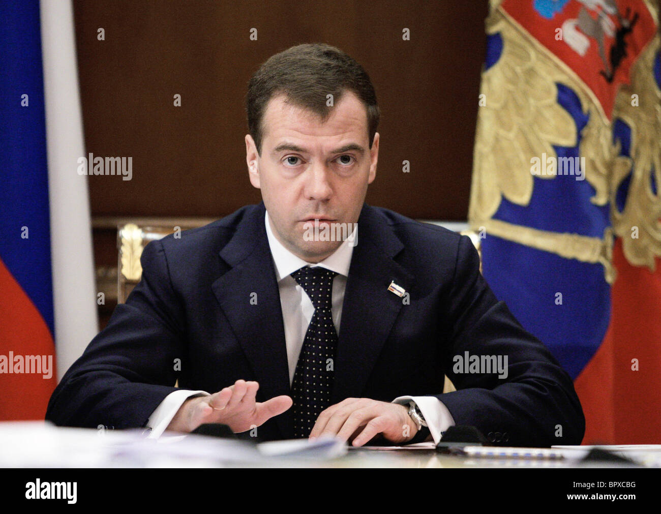 Medvedev holds meeting to consider reduction of time zones - Stock Image