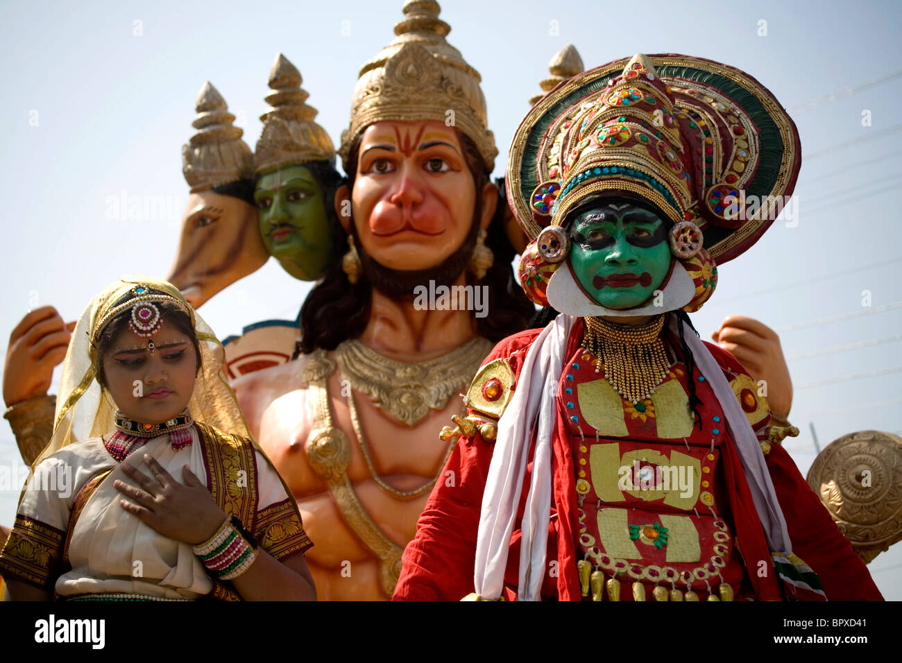 Hindu God Hanuman or Monkey Gods at Kumbh Mela festival Haridwar, Uttarakhand, India 2010. - Stock Image