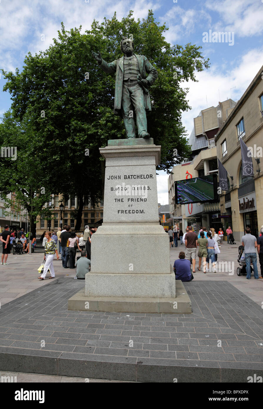 Statue of John Batchelor near St Davids Hall The Hayes Cardiff Wales UK - Stock Image