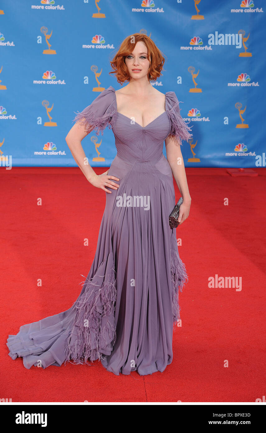 CHRISTINA HENDRICKS at the 62nd Primetime Emmy Awards at Nokia Theatre, Los Angeles, 29 August 2010. Photo Jeffrey - Stock Image