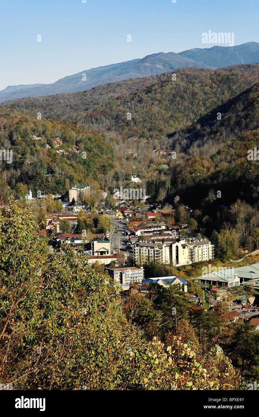 Gatlinburg, TN. & Smoky Mountains. Stock Photo