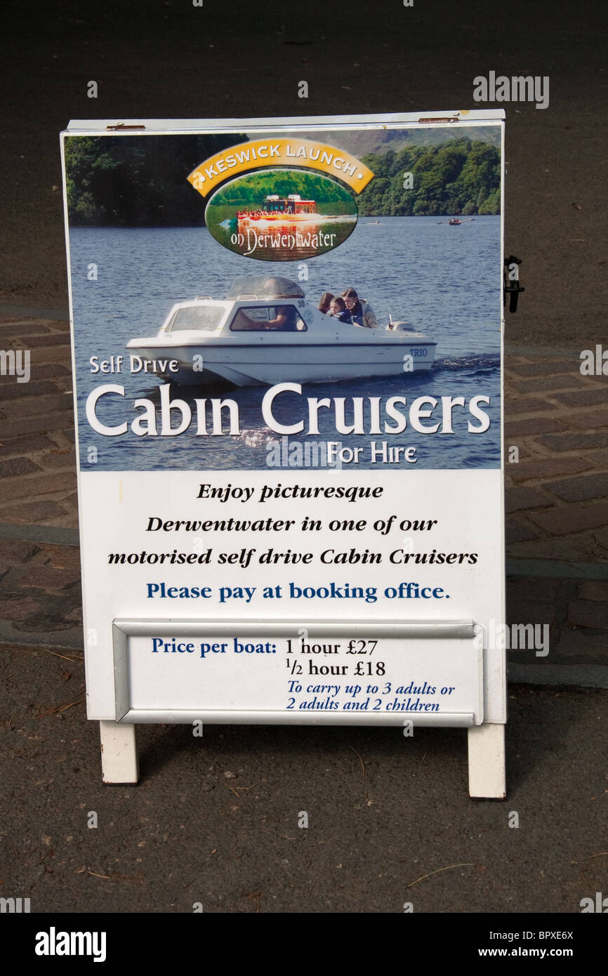 'Self Drive Cabin Cruisers For Hire' sign - Stock Image