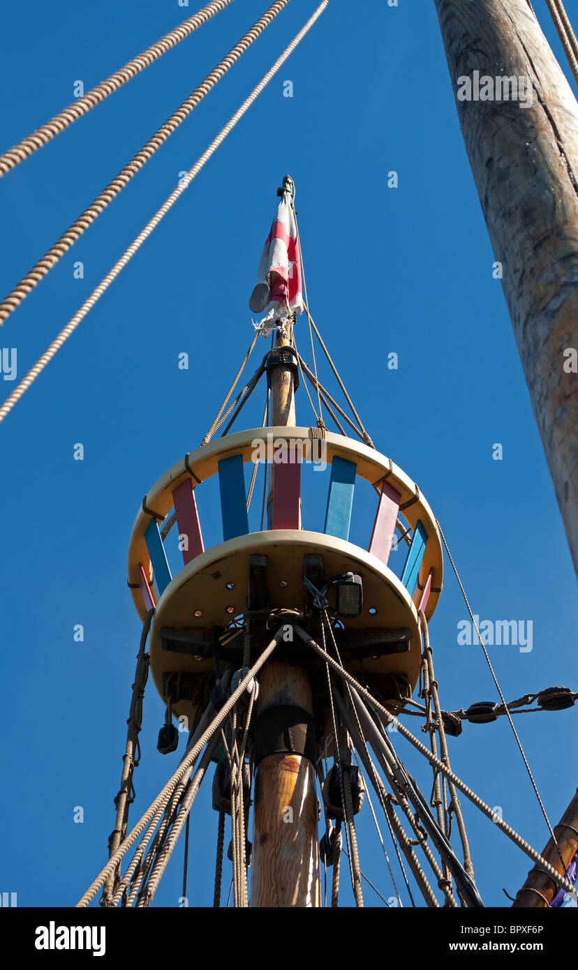 the crows nest on the ' dawn raider ' a fictional ship in the new ' chronicles of narnea ' movie - Stock Image