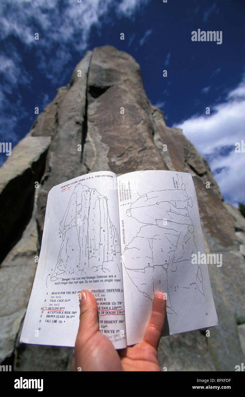 Man reading climbing topo map / rock climbing at City Of Rocks ...