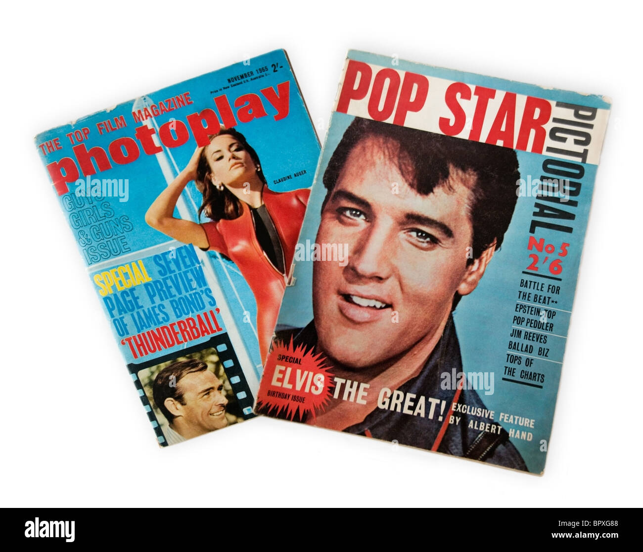 Two vintage magazines Photoplay and Pop Star Pictorial from 1965 on a white background - Stock Image