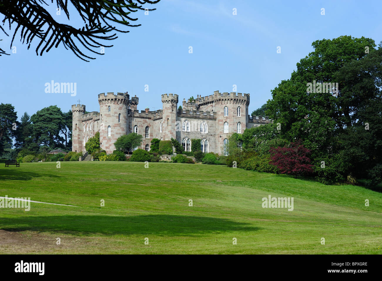 Cholmondeley Castle from Car Park area - Stock Image