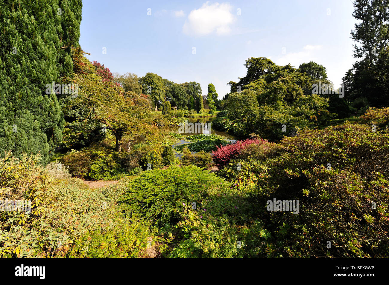 Temple Gardens at Cholmondeley castle. Cheshire - Stock Image