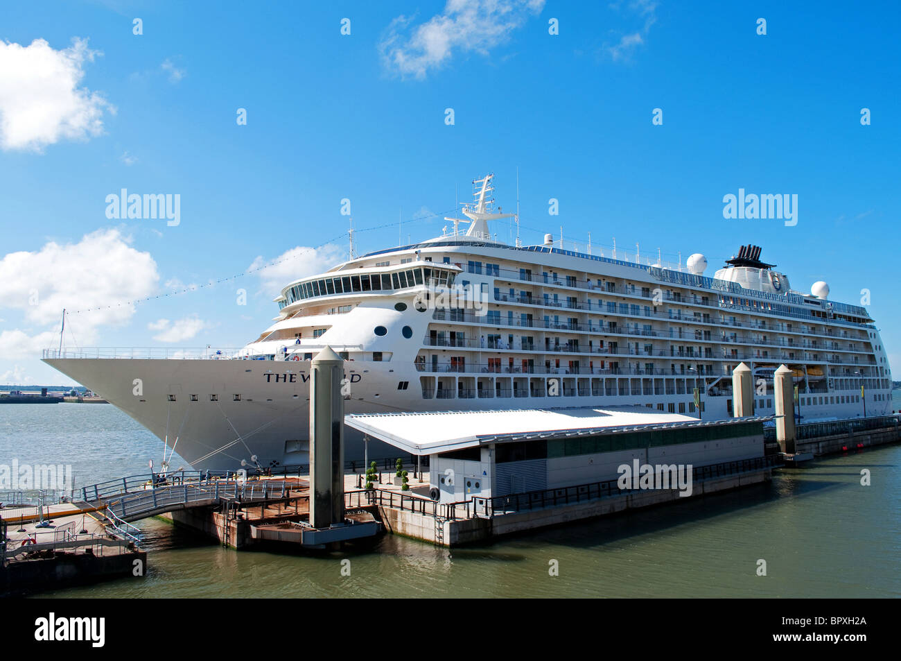 ' The World ' luxury cruise liner in port at Liverpool, UK - Stock Image