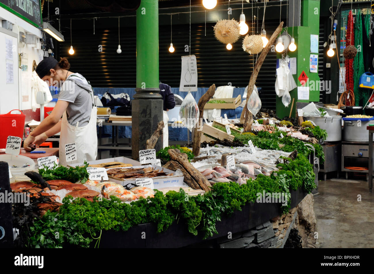 Fish stall on Borough Market, London SE1 Stock Photo
