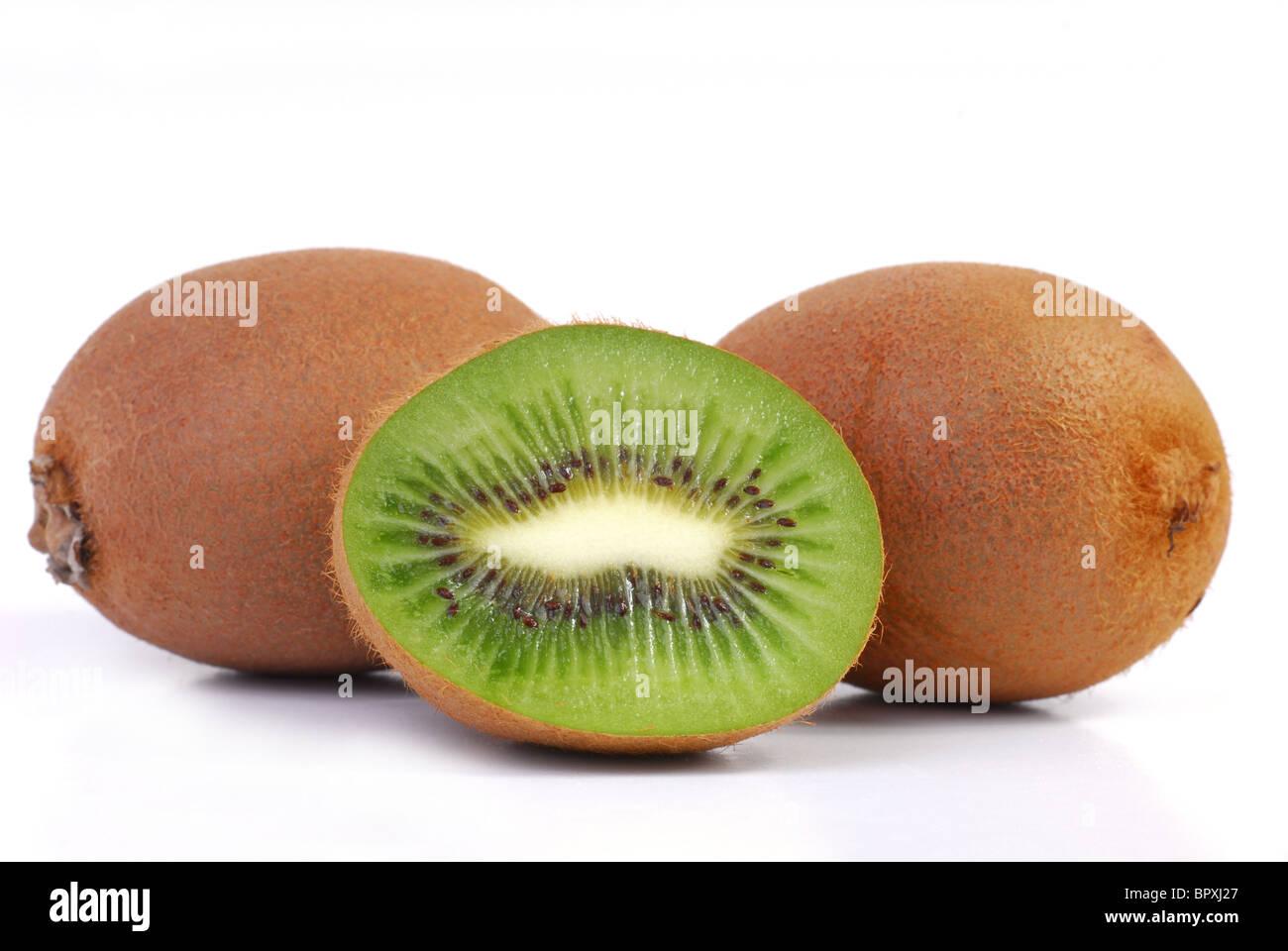Freshly cut kiwi studio isolated on white background - Stock Image