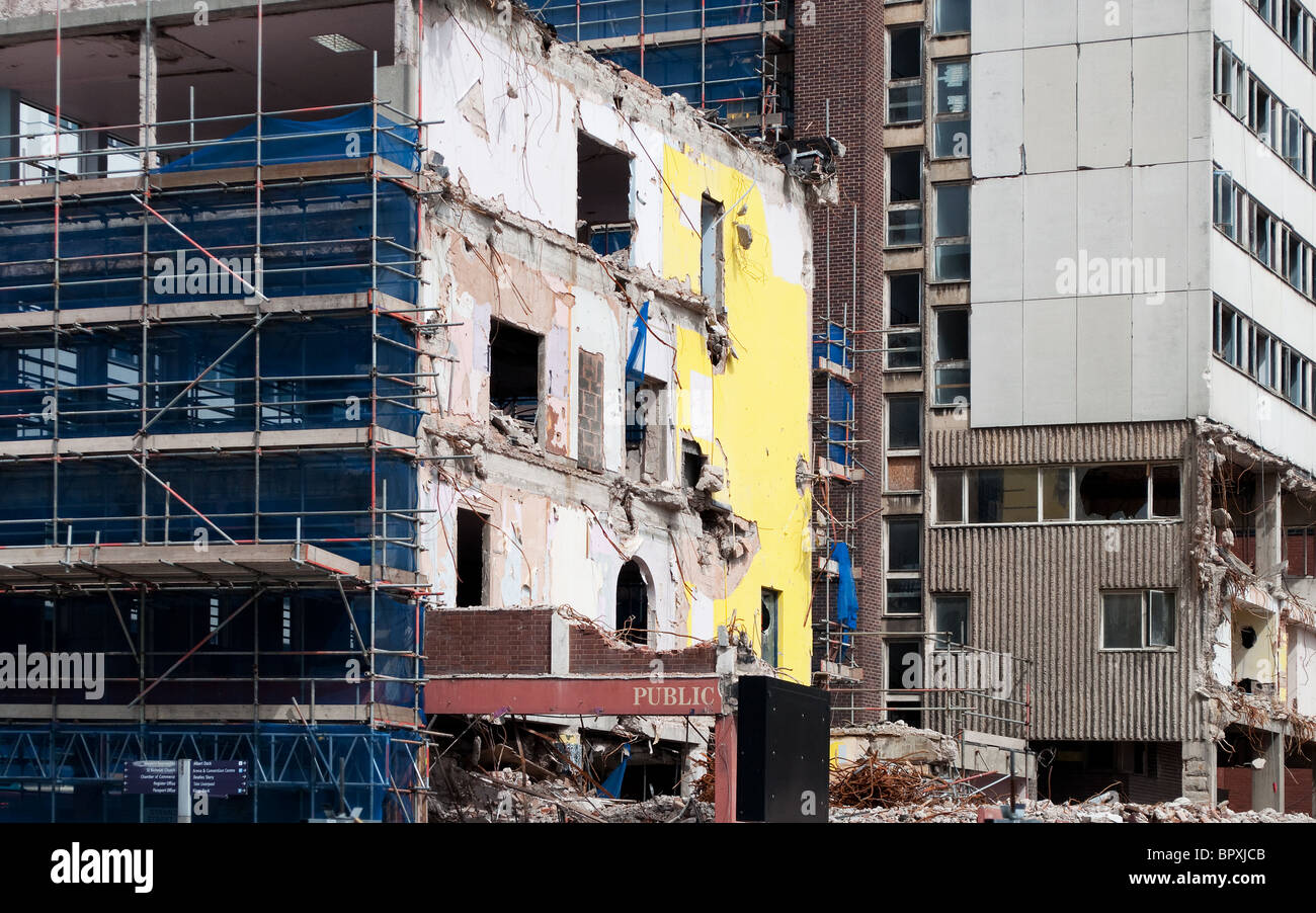 old buildings being demolished in the city centre of Liverpool, UK - Stock Image