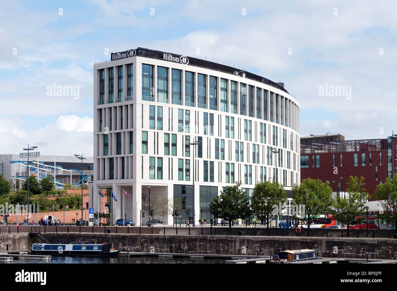 The Hilton Hotel on the dock road in Liverpool, UK - Stock Image