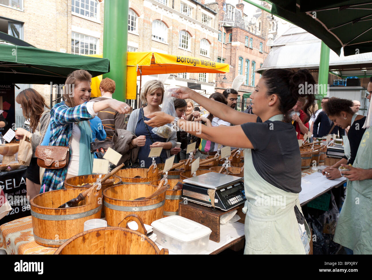 Olive Stall - Borough Market - Southwark - London - Stock Image