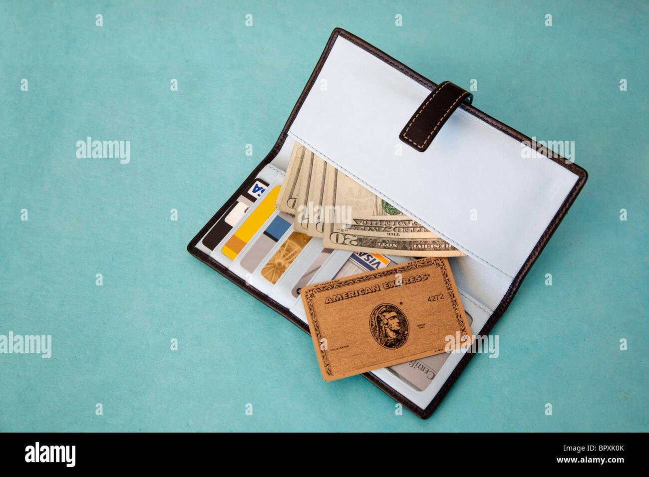 detail showing contents of wallet - Stock Image