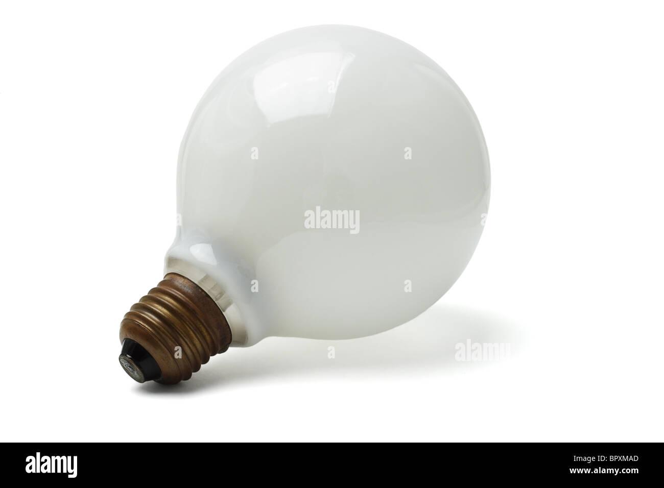Large electric lightbulb isolated on white background - Stock Image