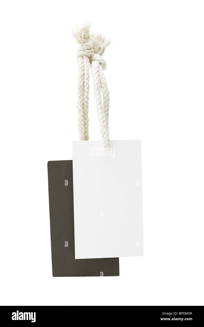 Black and white labels suspended on white background - Stock Image