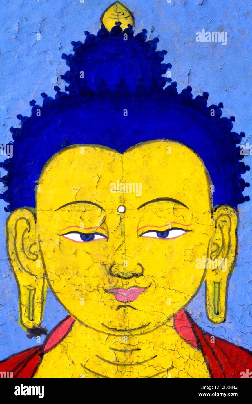 A painting of the Buddha. McLeod Ganj, Dharamsala, Himachal Pradesh, Northern India. - Stock Image